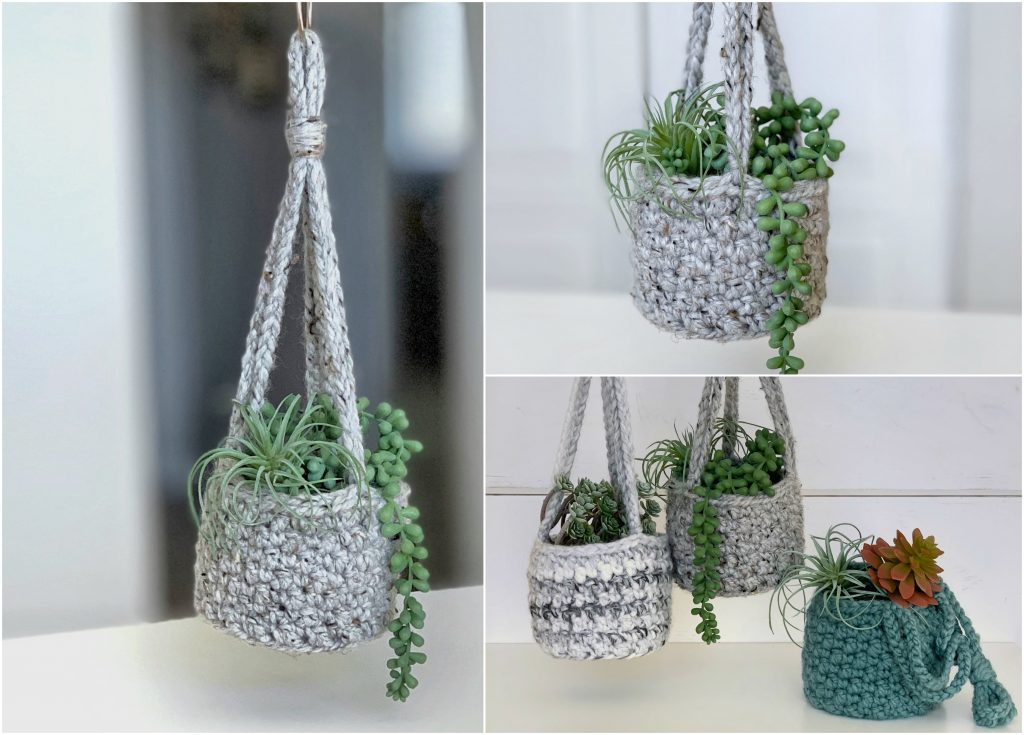 crocheted lemon peel hanging planter