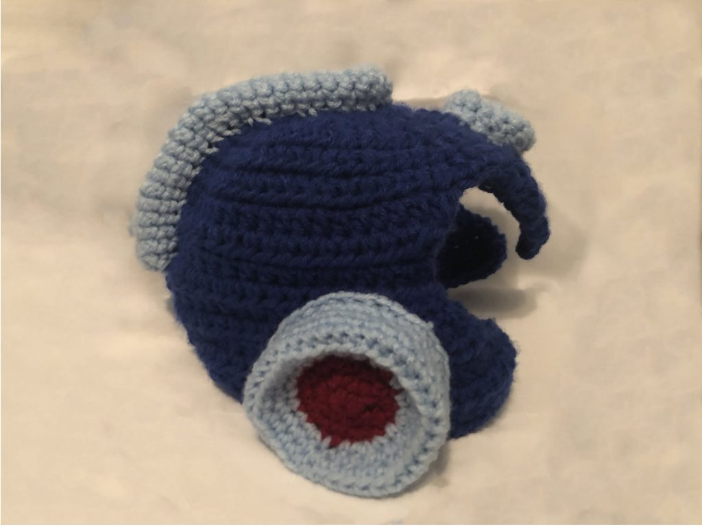 crocheted mega man helmet