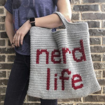 crocheted nerd life tote bag