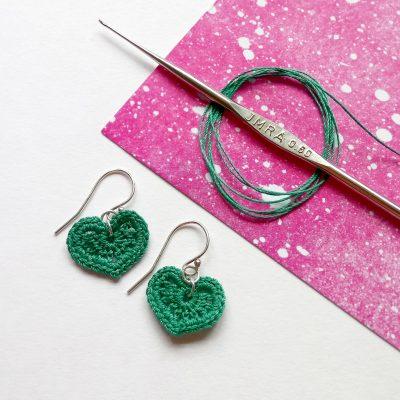 Micro Crochet Heart Earrings