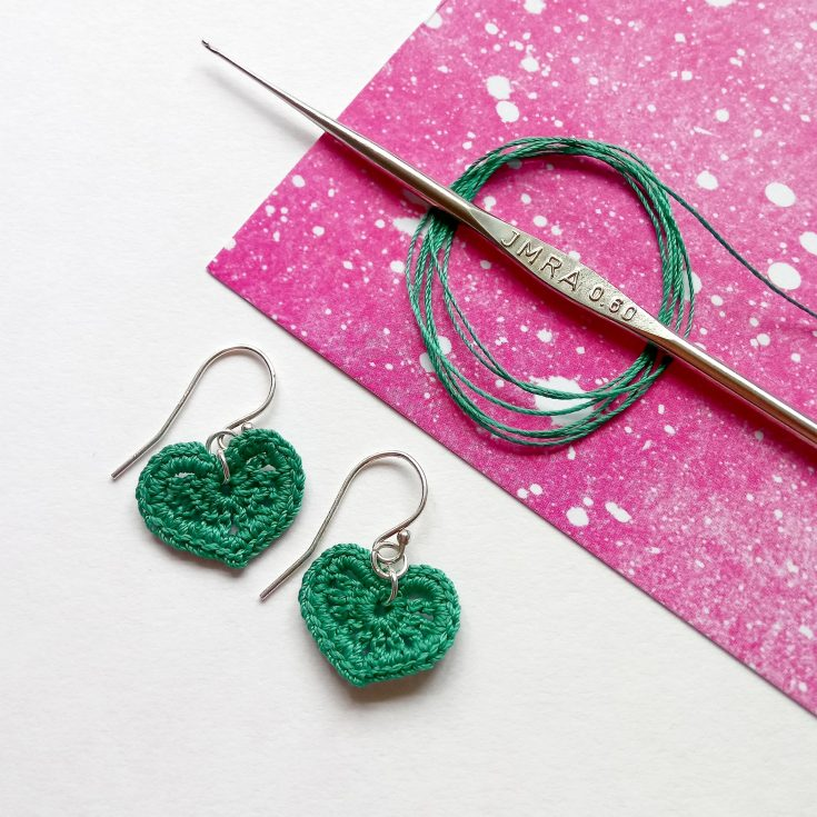 Micro Crochet Heart Earrings