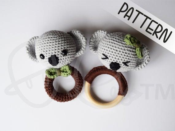 KOLA & KIKI Koala crochet rattle and teether PATTERN, crochet koala amigurumi, koala toy, koala baby shower gift, handmade