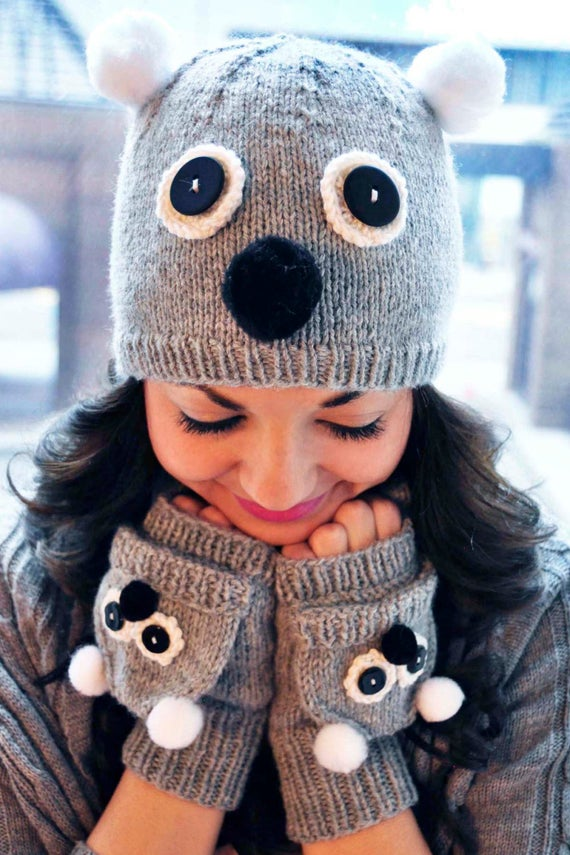 Care to Cuddle KNITTING PATTERN INSTRUCTIONS Knitted Koala and Owl Hat and Fingerless Mitten Set